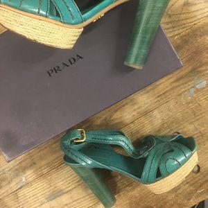 Prada espadrille leather sandals!